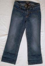 Rampage Faded Dark Wash Stretch Capri Cropped Denim Jeans Sz 7 / Low Rise