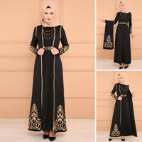 Set Women Muslim Long Dress Ramadan Abaya Islamic Maxi Party Kaftan Dubai Jilbab