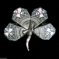 Origami Dollar Four Leaf CLOVER 3D Money Shamrock Gift Handmade of Real $1 Bill