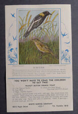 1920's White Baking American Bobolink with bulletin