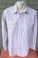 Ruddock VTG Red Blue Pinstripe Western Cowboy Pearl Button Shirt Size 15 1/2 33
