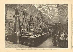 1884 ANTIQUE PRINT-INTERNATIONAL HEALTH EXHIBITION, MACHINERY FOR MAKING COCOA,C