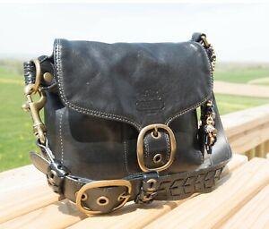 COACH Black Leather LEGACY BLEEKER TATTERSALL Shoulder Bag Handbag