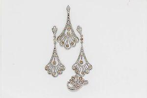 925 Sterling Silver Citrine/White Topaz Earring/Pendant/Ring( 1.35 cts)