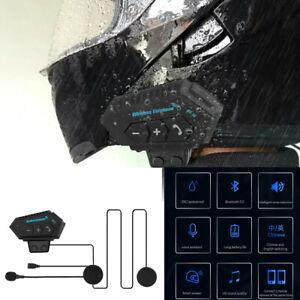 Rechargeable Motorcycle Intercom Riders Helmet Interphone Bluetooth 5.0 Headset