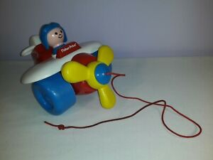 Vintage 1990s Fisher Price Pull Along Plane Aeroplane with Pilot Toy