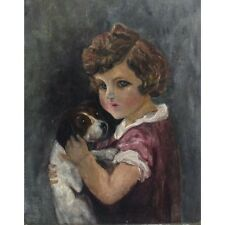 Vintage French Naive Folk ArtPainting, Child and Puppy Dog, Signed