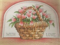 Stamps Happen Inc With Love Mounted Rubber Stamp Basket of Heart Flowers Craft