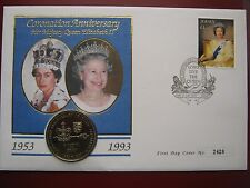 Jersey 1993 £2 Pound Coin 40-th Coronation Anniversary Queen Elizabeth II FDC