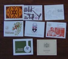 Transkei New Issue Cards 1976 1980 Tourism Independence Fruits Pipes Weaving etc