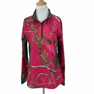 Realtree Thin Fleece Sweatshirt Women's Size L Pink Camo 1/4 Zip Hunting Shirt