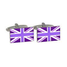 Tones of Purple Union Jack Cufflinks great british commonwealth flag BNIB