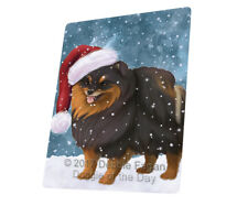 Let it Snow Christmas Pomeranian Spitz Dog Tempered Cutting Board Large Db14