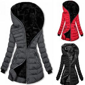 Womens Fur Lined Coat Puffer Jacket Zipper Hooded Overcoat Winter Warm Outwear