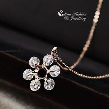 18K Rose Gold Filled 6x Simulated Diamond Round Cut Sparkling Necklace