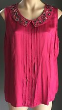 Gorgeous BODEN Cerise Sleeveless Pleat Detail Embellished Collar Top Plus Size18