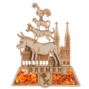 Kühlschrankmagnet Bremer Stadtmusikanten Markt -  Souvenir  - echter Bernstein.2