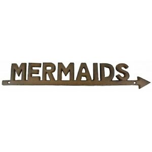 """New Large 18"""" Cast Iron Mermaids Sign With Arrow A749"""