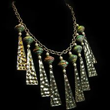 Chic Golden Metal & Green Paper Bead Junque Jewelry Artisan Necklace By SoniaMcD