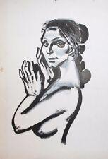 Vintage gouache painting portrait nude woman