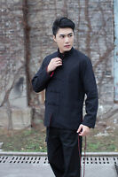 black/red Double face Chinese men's linen/cotton kung fu Jacket/coat S--3XL