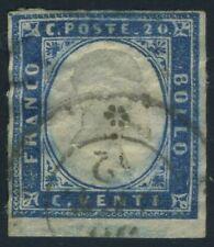 Italy Sardegna 1858 20 cents USED Sas 15A(?) CV $120.00 190722024
