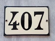 407 door number sign House plaque Vintage beige black enamel plate
