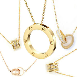 Womens Ladies Rose Gold/Gold Necklace Sparkling Diamond Noble Necklace-Her Gifts