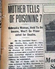 DELLA SORENSON Nebraska Serial Killer Murderer Poisoner ARRESTED 1925 Newspaper