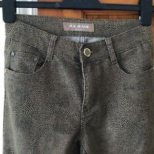 BS Jeans - Ladies Animal Print Jeans Straight Leg - Size UK 8 Used VGC W26L31