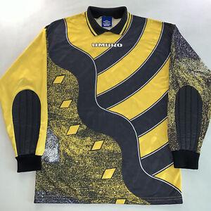 Vintage 90s Mens Umbro Soccer Logo Goal Keeper Jersey Shirt Yellow Sz Small Rare