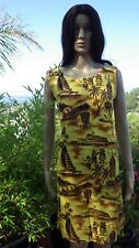 Rare Vintage Hawaiian Dress Hula Tiki Aloha Airlines Diamond Head Hawaii Medium