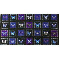 "Butterfly Jewel Butterflies Boxes Royal Cotton Fabric Benartex 24""X44"" Panel"