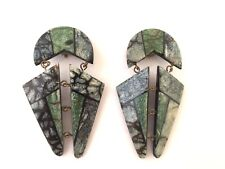 BOUCLES D'OREILLE VINTAGE ANNEES 80 PIECES ARTICULEES STYLISEES FRENCH EARRINGS