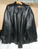Men's Size 6XL Black Leather Harbor Bay Jacket, needs zipper repaired