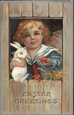 Easter - Child w/ Albino Rabbit & Colored Eggs c1910 Postcard