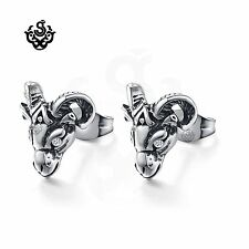 Silver studs clear crystal stainless steel goat ram earrings gothic