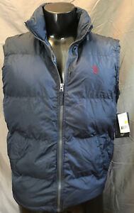 US Polo Assn Mens Blue Puffer Jacket Zip Up Vest Size Small New With Tags