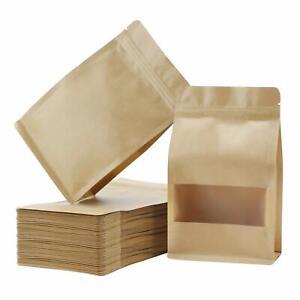 Kraft Paper Bag Box Window Zip Lock Heat Seal Food Grade Flat Bottom Stand Up