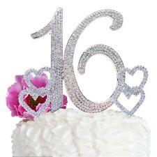 Sweet 16 Birthday Cake Topper BIG Number cake decoration16 Rhinestone Hearts