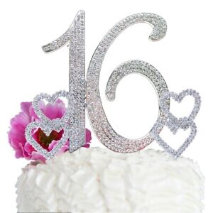 Sweet 16 Birthday Cake Topper BIG Number cake decoration16 Rhinestone Hearts