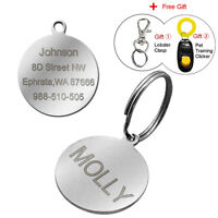 Stainless Steel Circle Engraved Dog Tags Custom Cat Name Tag Leaser Engraved