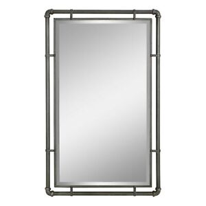 Bathroom Wall Mirror Beveled Vanity Urban Industrial Metal Hallway Decor Gray
