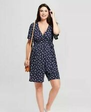 Target Isabel Maternity Leaf Print Crossover Belted Romper Navy Sz M Medium