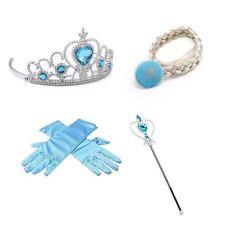 Frozen Elsa Inspired Accessories Kids Girls Crown Magic Wand Gloves 4 Piece Set