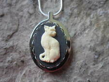 STAINLESS STEEL CAT CAMEO URN NECKLACE - ASHES, LOCK OF FUR, CREAM, BLACK