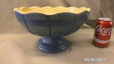 "1935M Vtg Tutto Casa Wood Pedestal Bowl Aquas/Blues Large 11.5"" Across 6.5"" Tall"
