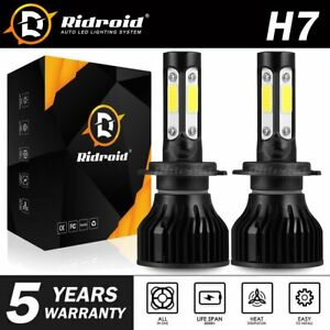 Pair 4-sides CREE H7 LED Headlight bulb 2400W 6000K 360000LM Replacement Bulb JO