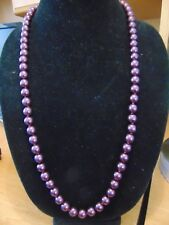 JOAN RIVERS Glass Pearl Purple Necklace