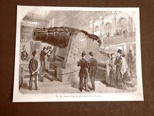 Incisione del 1875 Artiglieria Cannone Krupp all'Esposizione universale Parigi